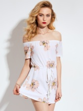Off Shoulder High-Waist Pleated Floral Print Patchwork Women's Rompers