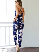 Floral Print Backless Pocket Slim Women's Jumpsuit