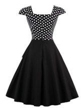 Polka Dots Cap Sleeve Buttons Women's Day Dress