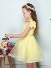 Cute Straps Bowknot Short Flower Girl Dress