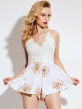 Floral Print Backless Lace Vacation High-Waist Pleated Women's Romper