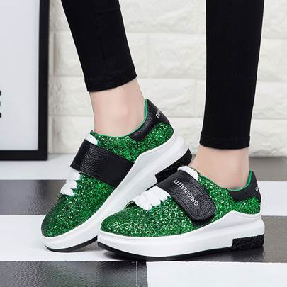 Green White Thick Women's Skate Shoes
