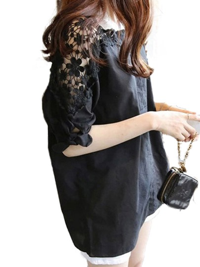 Lace Hollow Sleeve Plain Women's Blouse