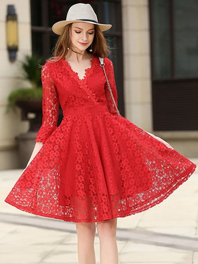 Flared Sleeve Red Women's Lace Dress