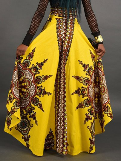 Dashiki High Waist Pleated Irregularity Print Floor-Length Women's Skirt