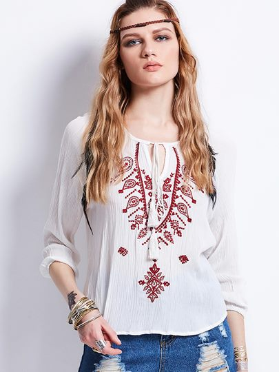 Round Neck Embroidery Lace-Up Women's Blouse