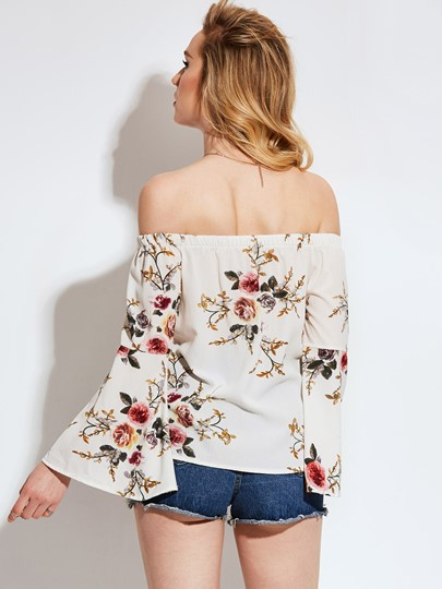 Floral Print Bell Sleeve Loose Women's Vacation Blouse