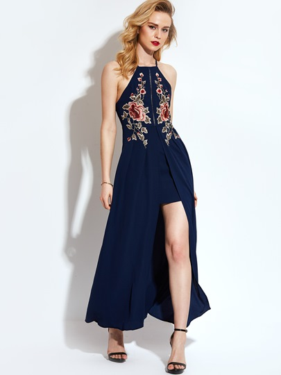 Vacation Back Embroidery Women's Maxi Dress