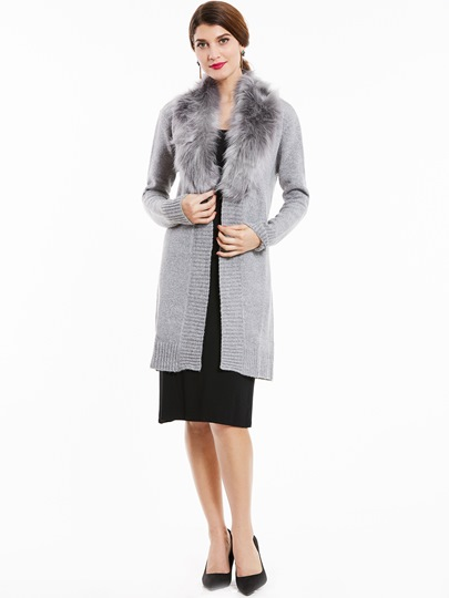 Wide Faux Fur Lapel Long with Belt Lace-up Women's Cardigan