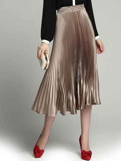 Champagne High-Waist Pleated Women's Skirt