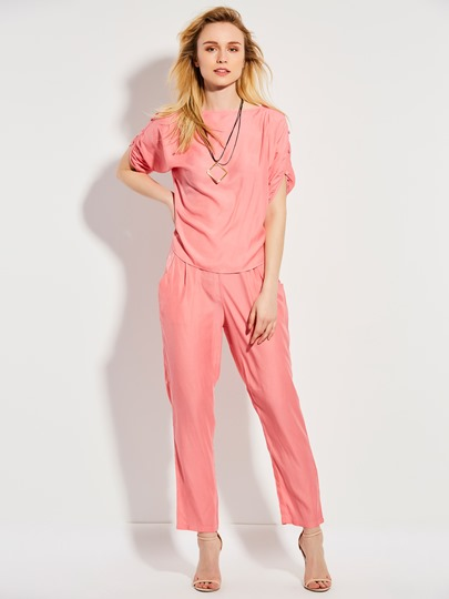 Plain Pleated Half Sleeve Pocket Patchwork Women's Harem Pants Suit
