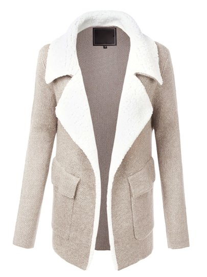 Color Block Lapel Long Sleeve Women's Jacket