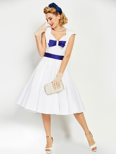 White Square Neck Cap Sleeve Women's Day Dress