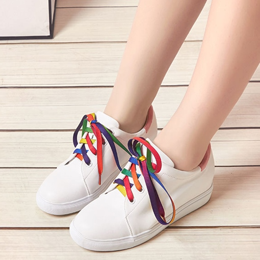 Candy Color Tie Hidden Elevator Heel Women's Skate Shoes