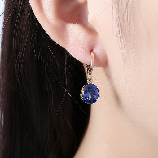 Romantic Round Zircon Inlaid Copper E-Plating Earrings