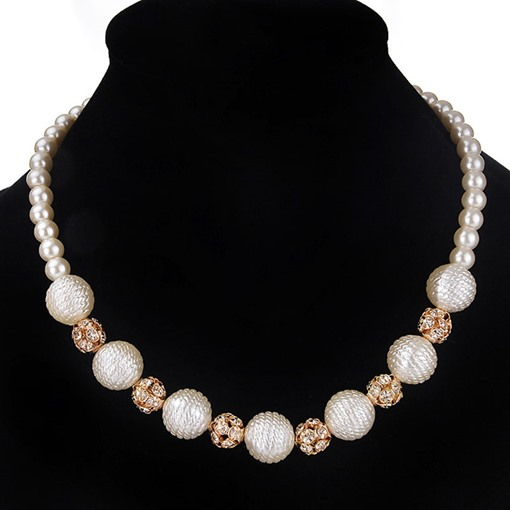 Alloy Diamante Artificial Pearl Short Necklace