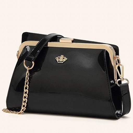 Shiny Clip Mouth Glossy PU Cross Body Bag