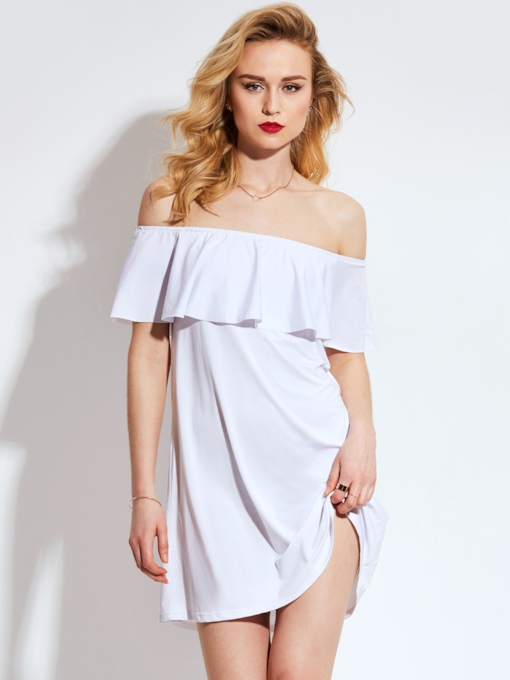 White Slash Neck Split Women's Day Dress