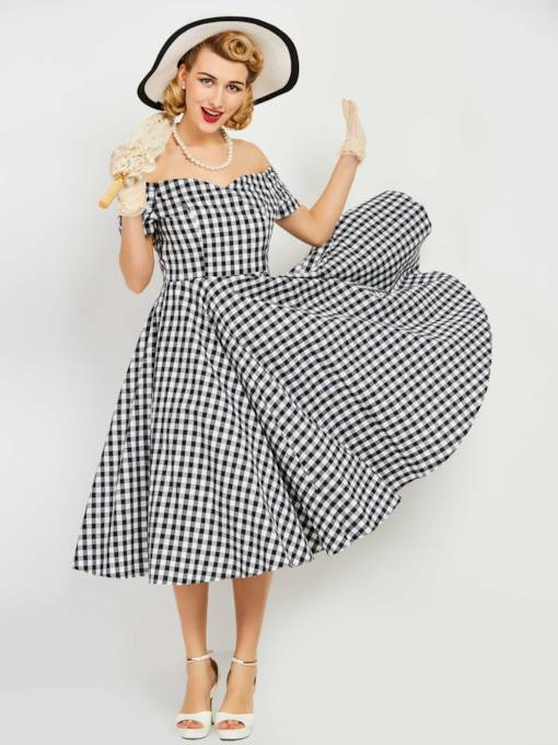 Off Shoulder Plaid Tiered Women's Day Dress