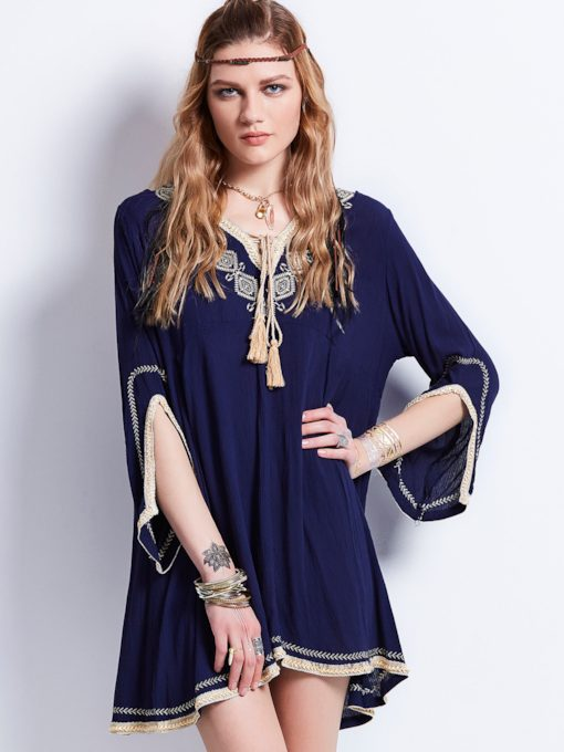 V-Neck Embroidery Flare Sleeves Mid-Length Women's Blouse