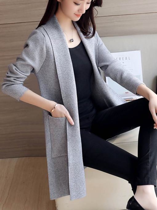 Slim Open Front Mid Length Women's Knitwear