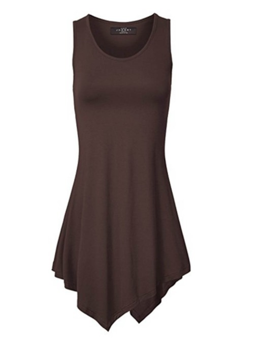 Asymmetric Mid-Length Plain Women's Tank Top