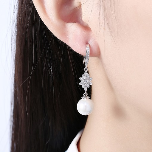 Diamante Sun Flower with Pearl Dangle Earrings