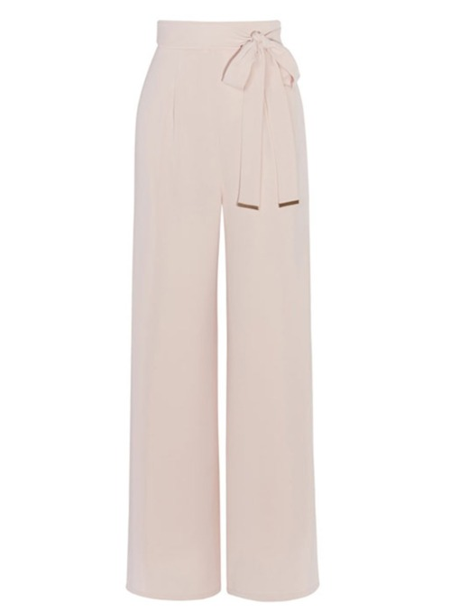Light Pink Lace-Up Slim Full Length Women's Pants