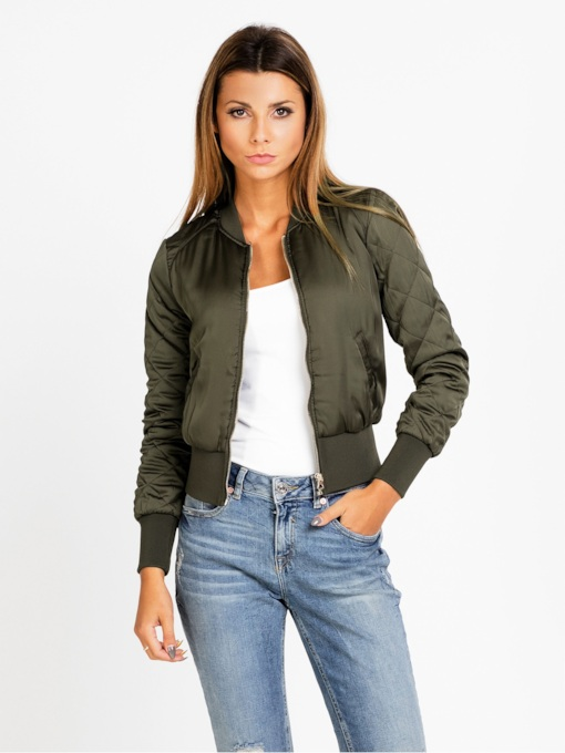 Solid Color Zipper Slim Women's Jacket