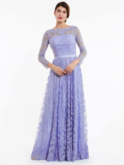 Bateau Neck Backless A Line Lace Evening Dress