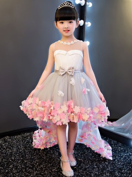 Scoop Neck Appliques High Low Flower Girl Dress