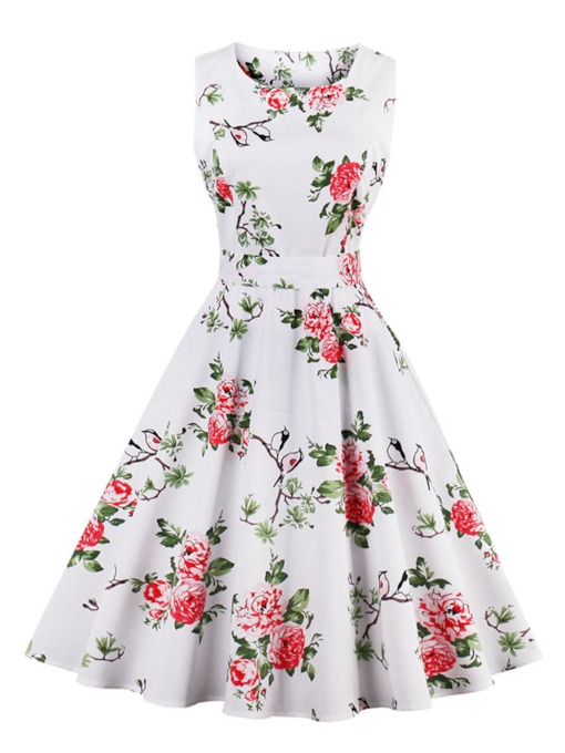 Invisible Zipper Printing Women's Skater Dress