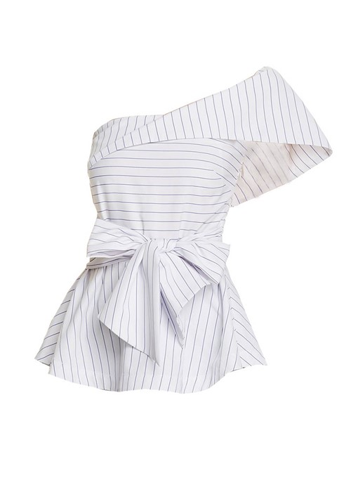 One Shoulder Plain Stripe Twist Knot Women's Blouse