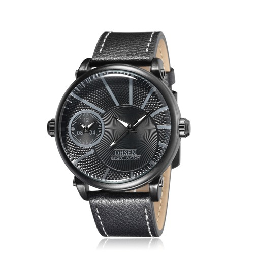 Dual Timezone Design Fashion Men's Belt Watch