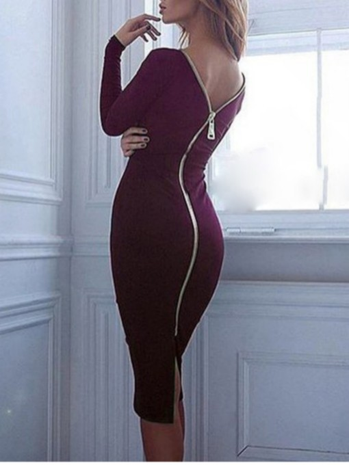 Round Neck Long Sleeve Zipper Women's Bodycon Dress