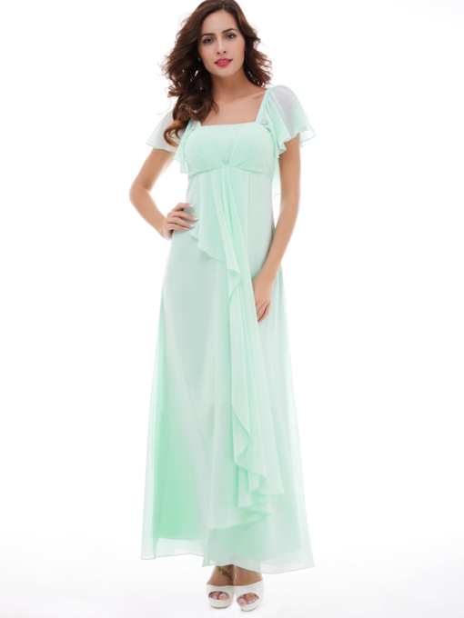 A-Line Square Neckline Chiffon Long Evening Dress