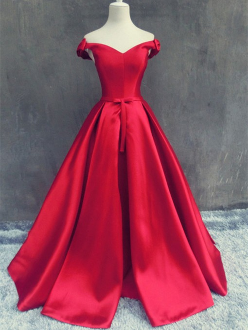 Bowknot Off-the-Shoulder A-Line Sashes Sweep Train Evening Dress