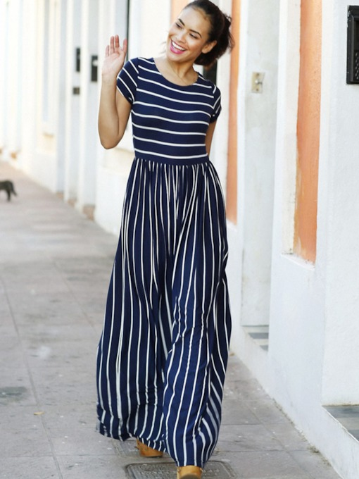Stripe Color Block Ankle-Length Women's Maxi Dress