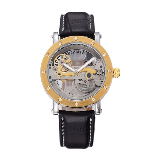 Auto Mechanical Black Artificial Leather Men's Watch