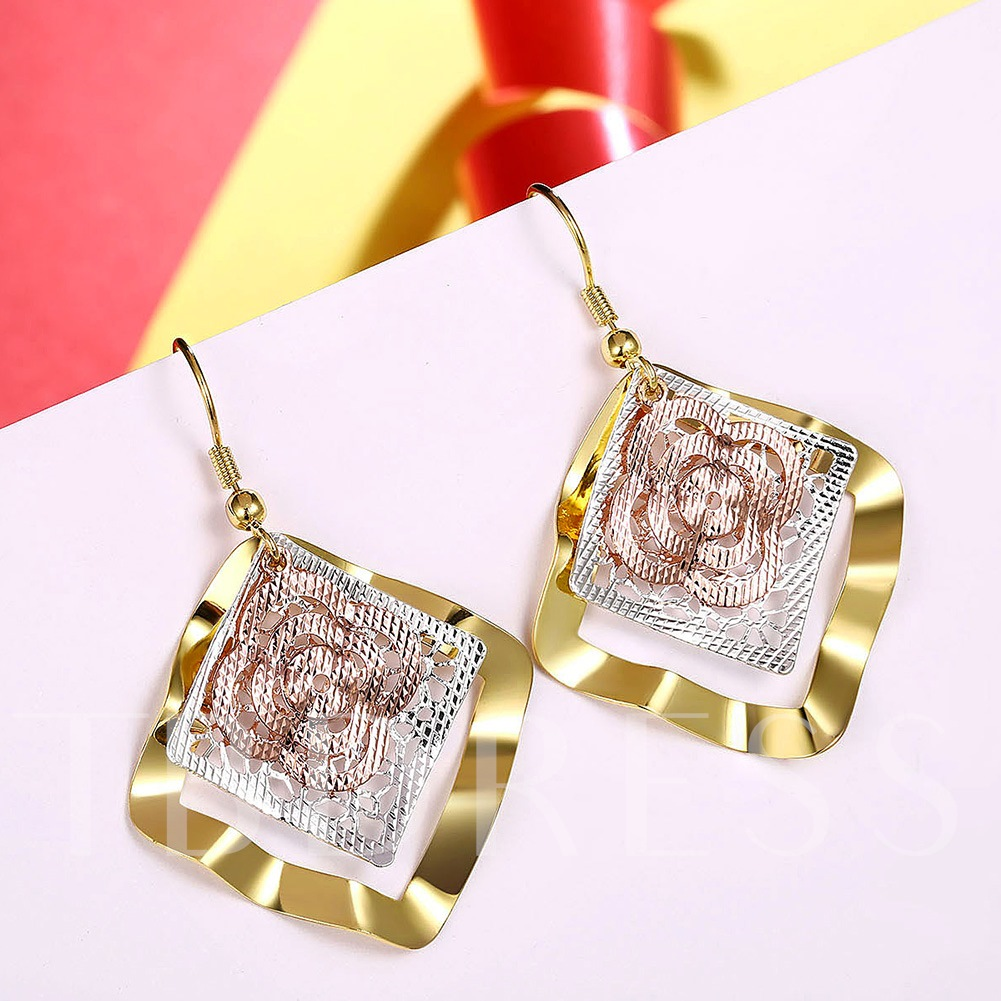 Copper Clover Design Gold Plated Earrings