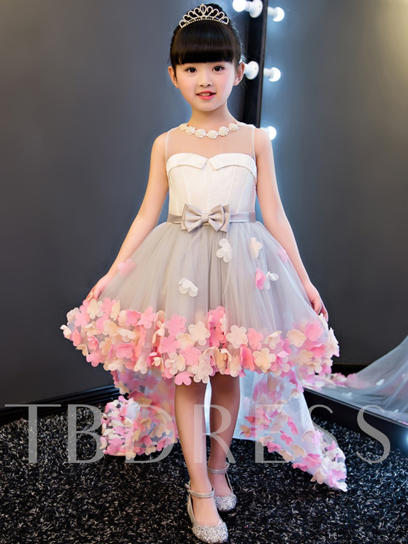 Scoop Neck A-Line Asymmetry Flower Girl Dress