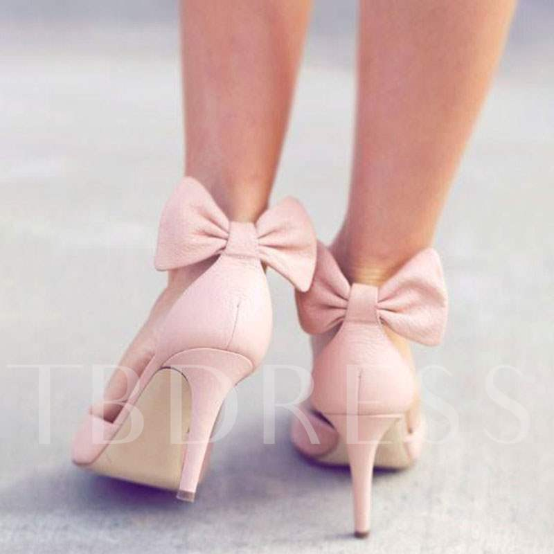 Sweet Back Bow Stiletto Heels Women's Pumps