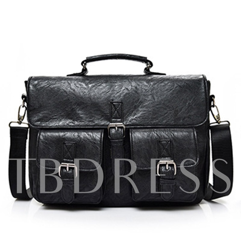 Trendy Style Cross Section PU Men's Backpack