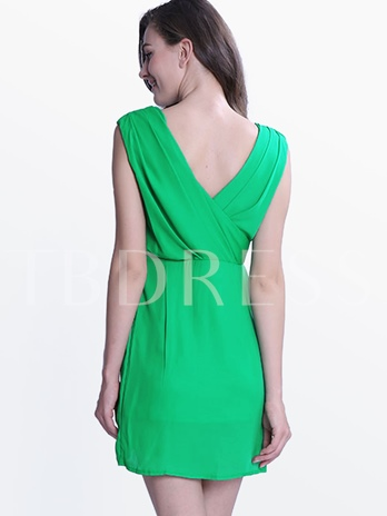 Plain Ruffle Backless Women's Sheath Dress