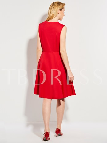 Red Double-Breasted Polka Dots Women's Day Dress