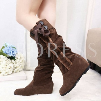Slip-On Round Toe Mid-Calf Cross Strap Women's Boots