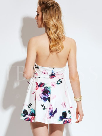 White Flowers Printed Vacation Women's Day Dress