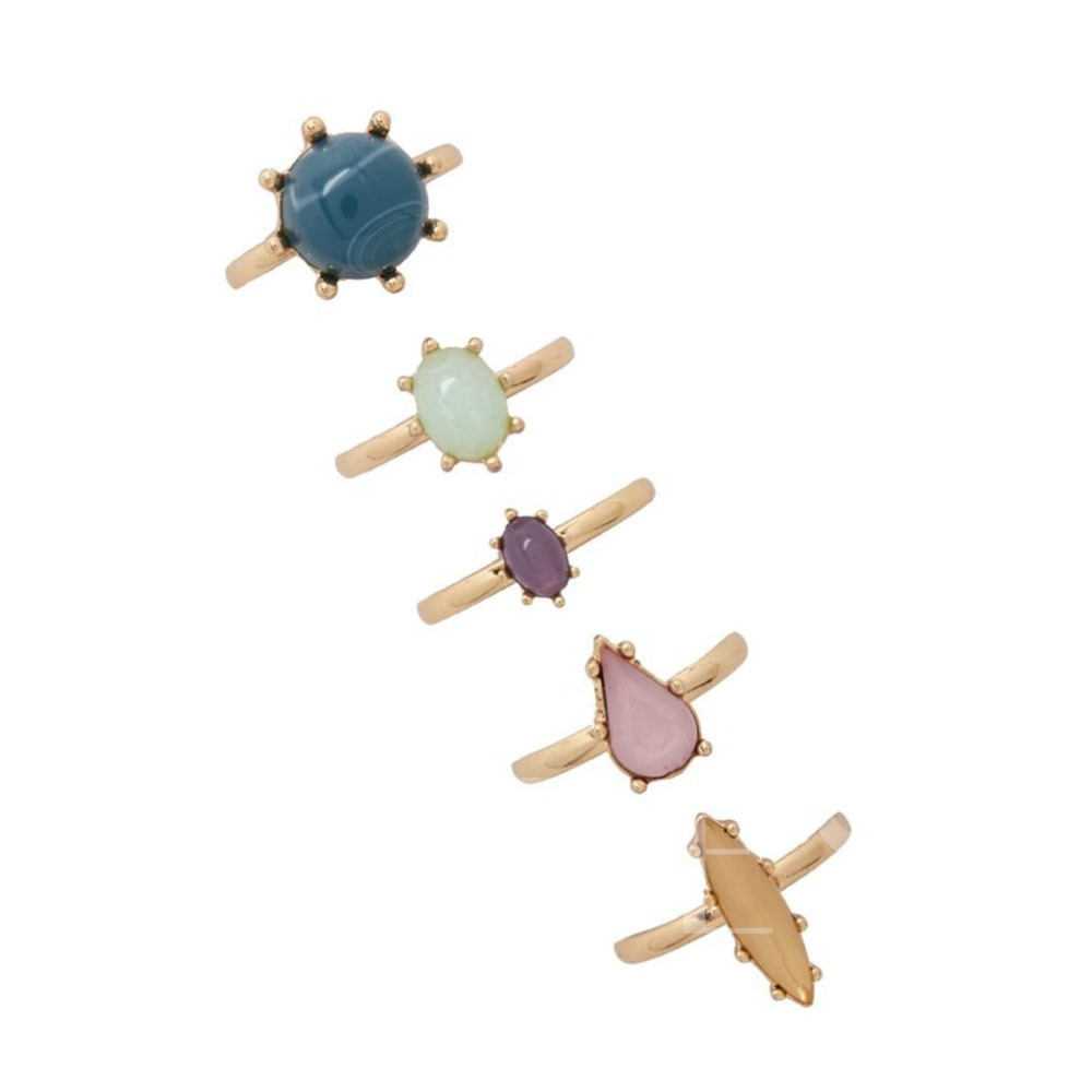 Geometric Stone Mosaic Alloy Five Pieces Ring