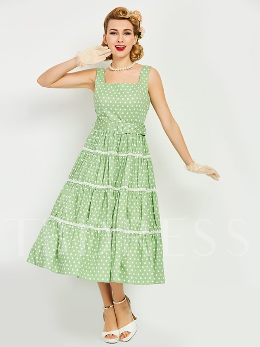Green Square Neck Polka Dots Women's Maxi Dress