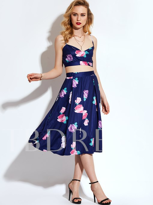 Floral Print Pleated Sleeveless Vacation Patchwork Women's Two Piece Dress